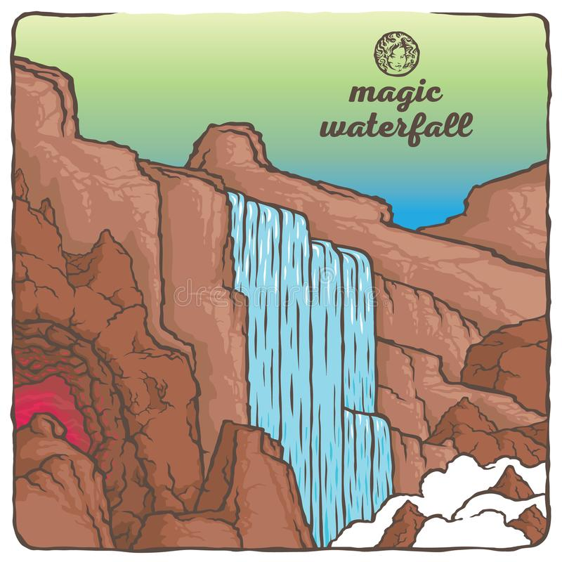 The waterfall Outline stock illustration