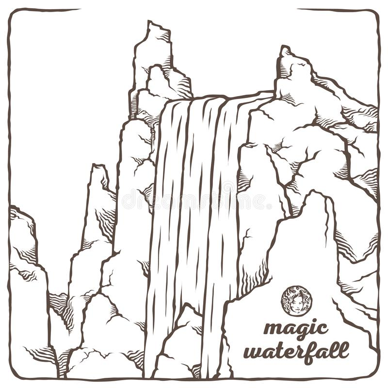 The waterfall Outline vector illustration