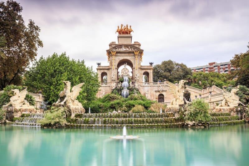 Waterfall in Parc de la Ciutadella, Barcelona, Spain stock photography