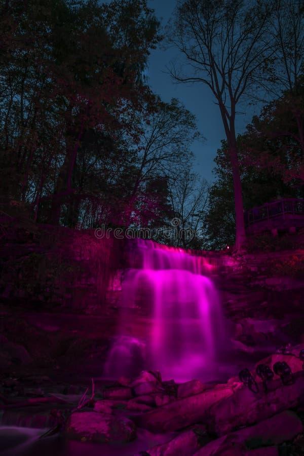 Waterfall in Pink Illumination stock image