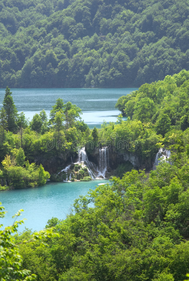 Waterfall in Plitvice lake (Plitvicka jezera) royalty free stock photo