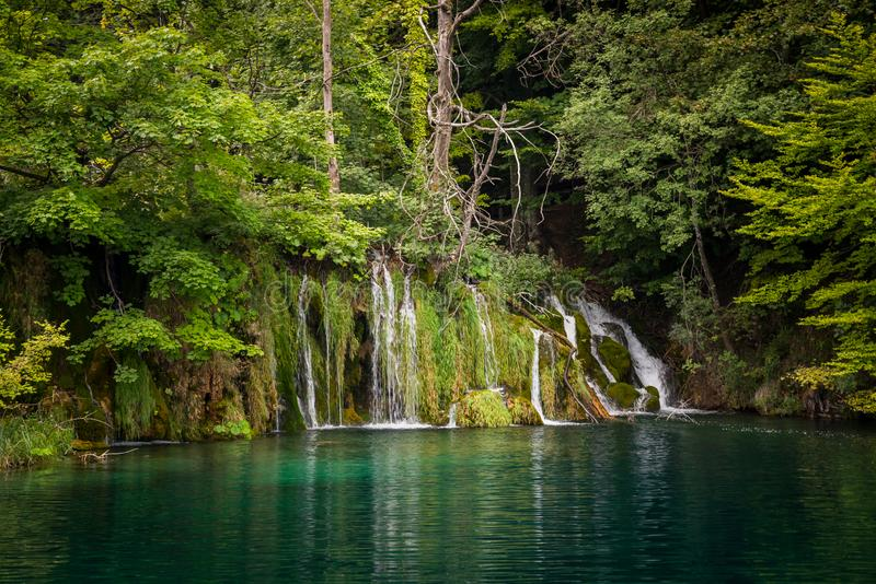 Waterfall in Plitvice lakes National Park, Croatia stock image