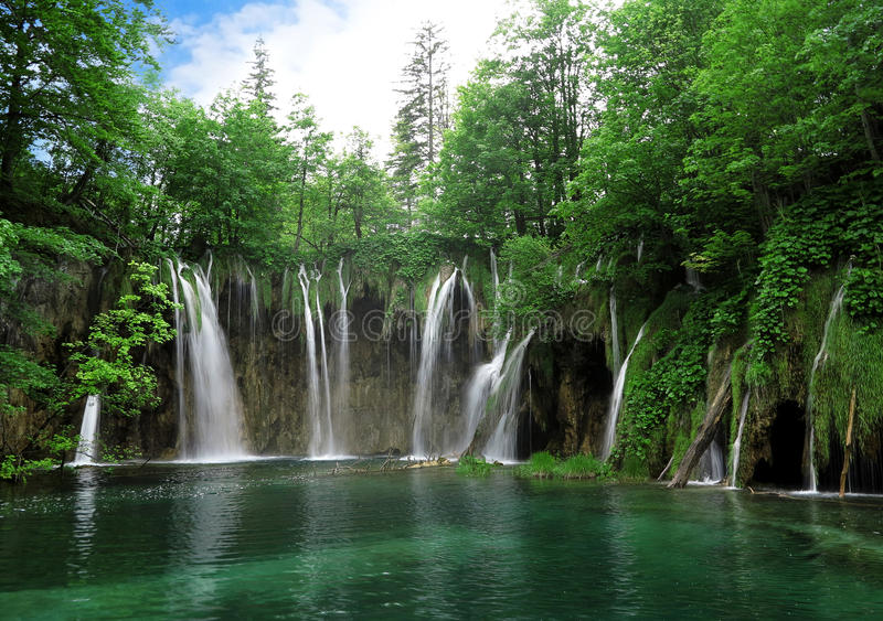 Waterfall in Plitvice National Park stock image