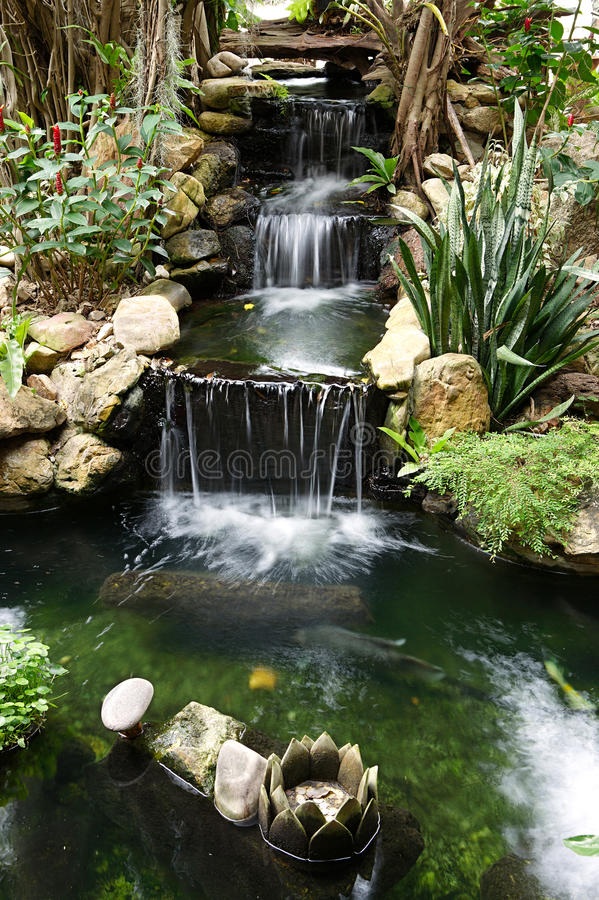 Waterfall with pond stock photography
