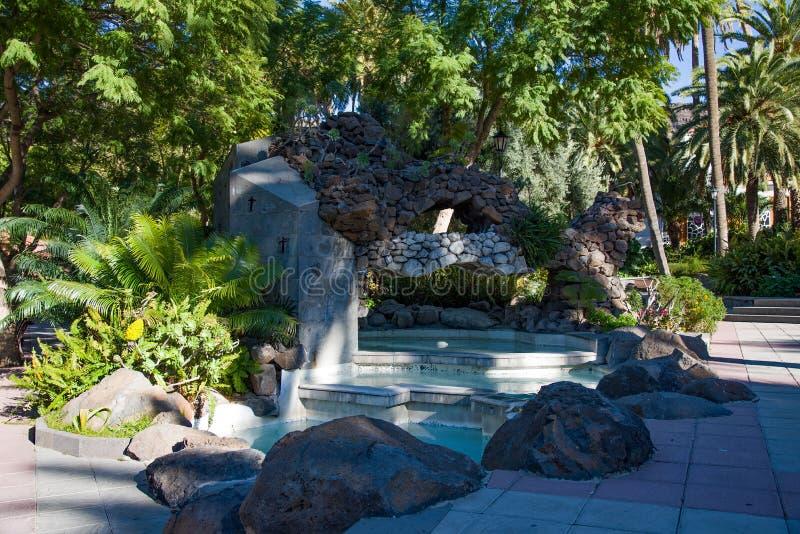 Waterfall in public park in Santa Lusia stock image
