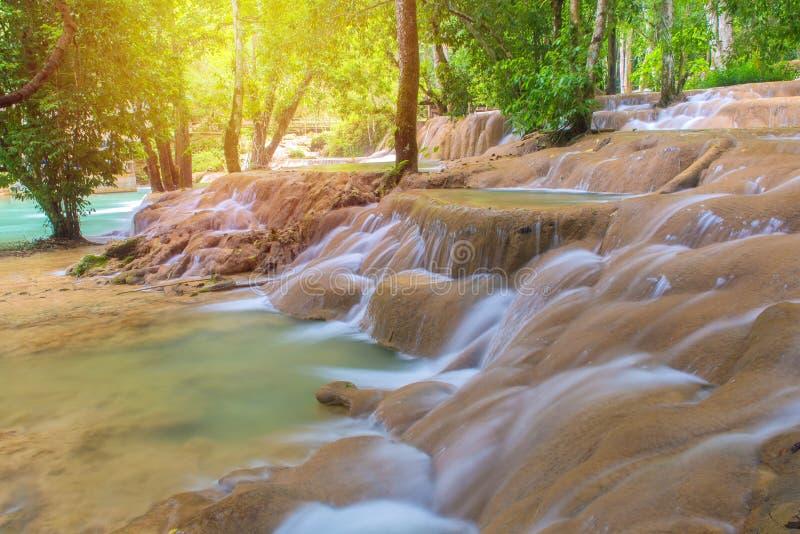 Waterfall in rain forest (Tad Sae Waterfalls at Luang prabang, L. Aos royalty free stock photos