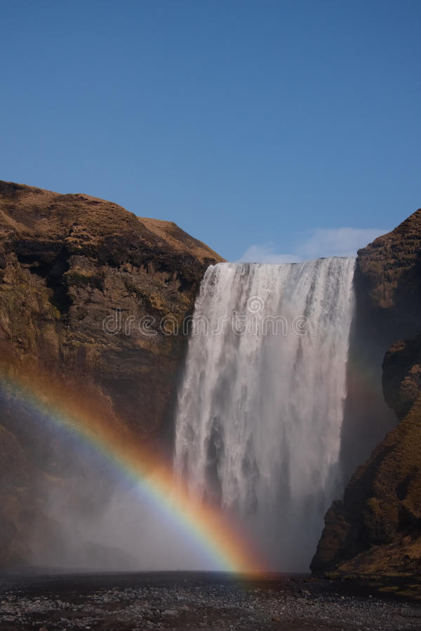 Download Waterfall With A Rainbow, Iceland Stock Photo - Image: 24278262