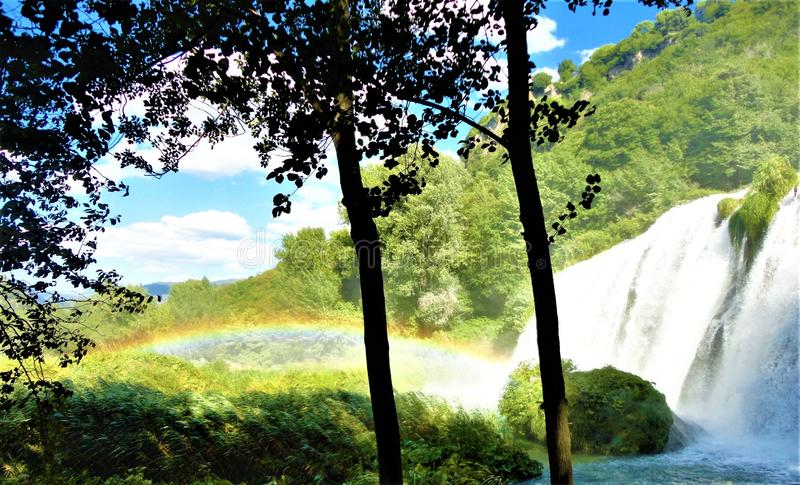 Waterfall, rainbow, trunks and nature stock photos
