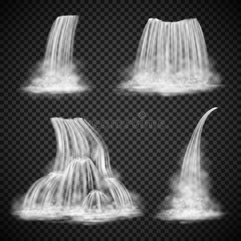 Realistic waterfall vector set, various water cascades stock photos