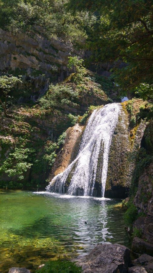 Waterfall. In Rio Mundo. Spain royalty free stock photo
