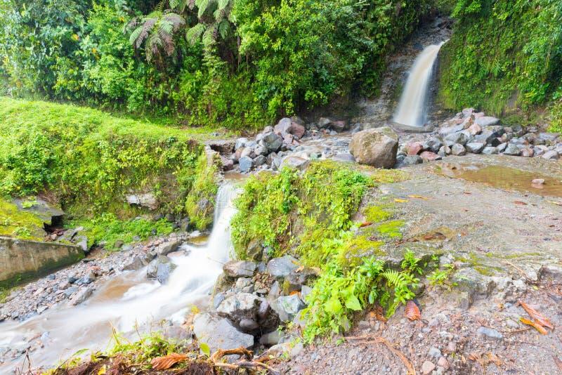 Waterfall rio on the volcan baru trail chiriqui panama. Waterfall rio walking on the volcan baru trail chiriqui panama royalty free stock images