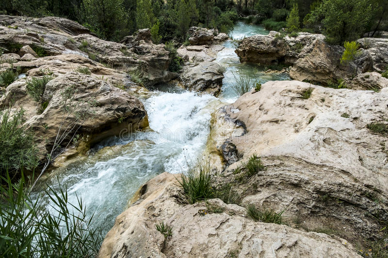 Waterfall in the river Cabriel stock photos