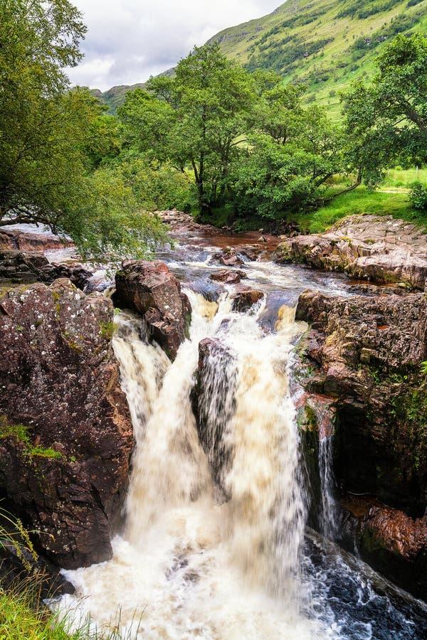 Waterfall on river in Glen Nevis, Scotland stock photos