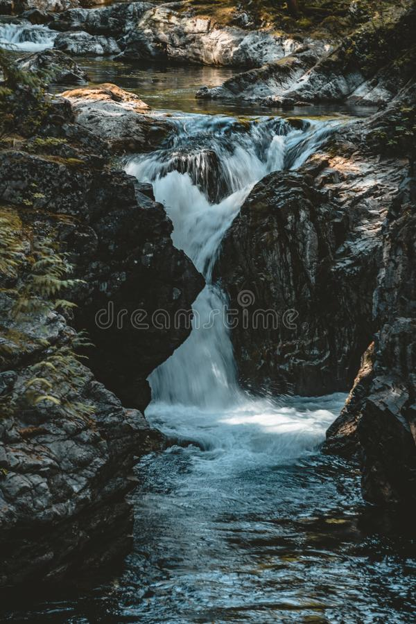 Waterfall with river in Vancouver Island near Victoria, Canada. Waterfall with rier in Vancouver Island near Victoria, Canada. Photo taken in Canada royalty free stock images