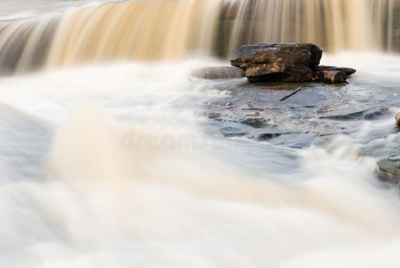 Waterfall and Rock Long Camera Exposure with Copy Space stock image