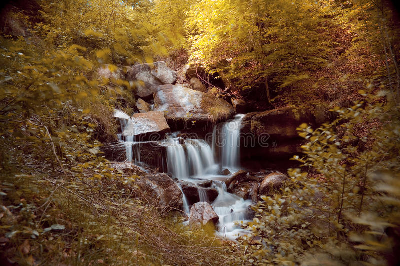 Download Waterfall With Rocks In A Autumn Landscape Stock Image - Image of rain, green: 39501643