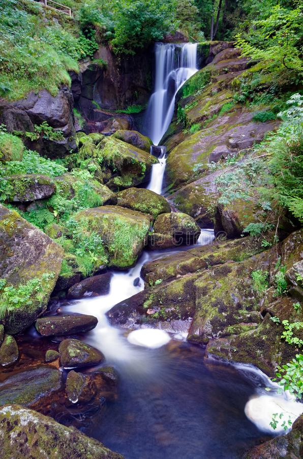 Waterfall and rocks covered with moss in the black forest. Waterfall and rocks covered with moss in the forest, Black Forest region, Germany royalty free stock images