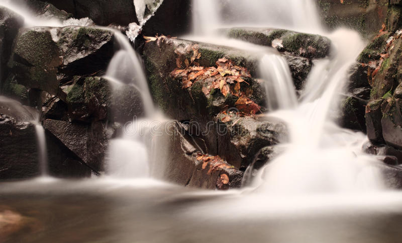 Waterfall on the rocks into the forest