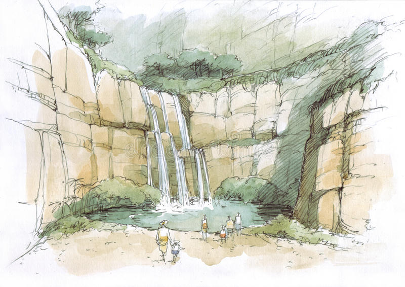Waterfall in the rocks. Landscape natural park vector illustration