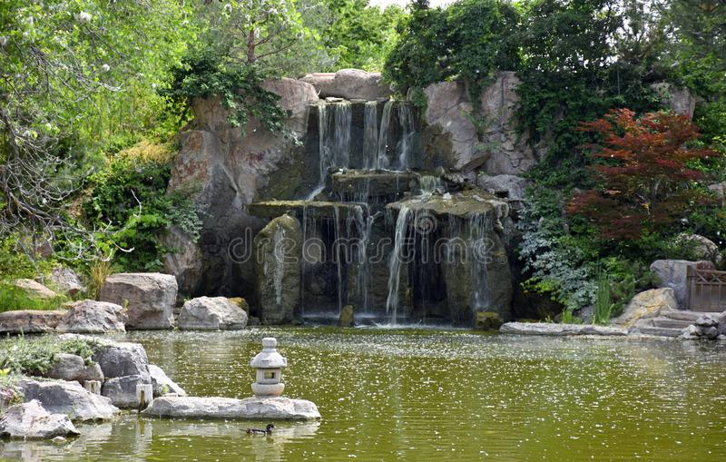 Waterfall at the Sasebo Japanese Gardens in New Mexico stock images