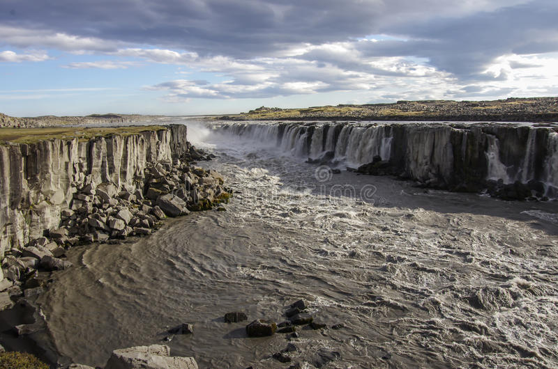 Waterfall Selfoss in Iceland. View of the waterfall Selfoss in Iceland stock photography