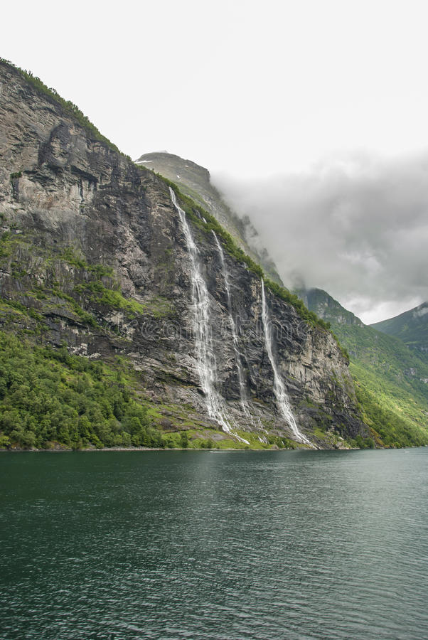 Waterfall The Seven Sisters at Geiranger fjord stock photo