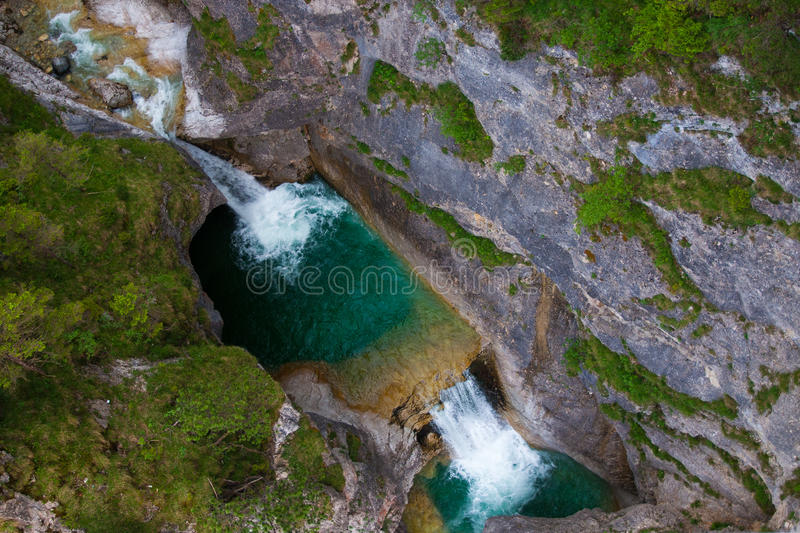 Waterfall shot from above royalty free stock image