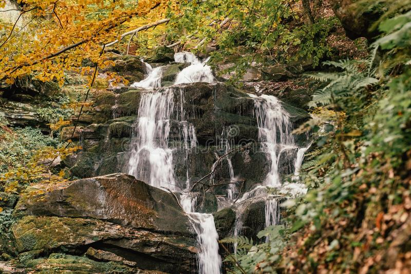 Waterfall Shypit in the autumn forest in Carpathian mountains, Ukraine royalty free stock photo