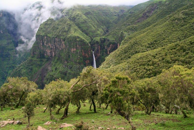 Waterfall in Simien Mountains, Ethiopia stock photos