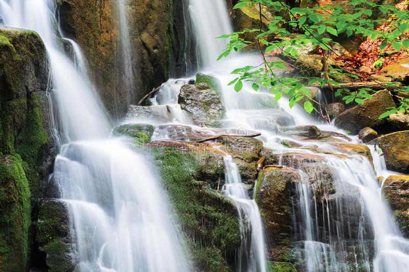 Waterfall with small cascades stock photo
