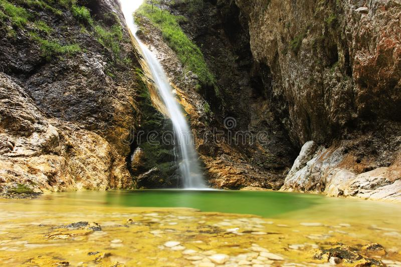 Waterfall at Soca River Source royalty free stock photo