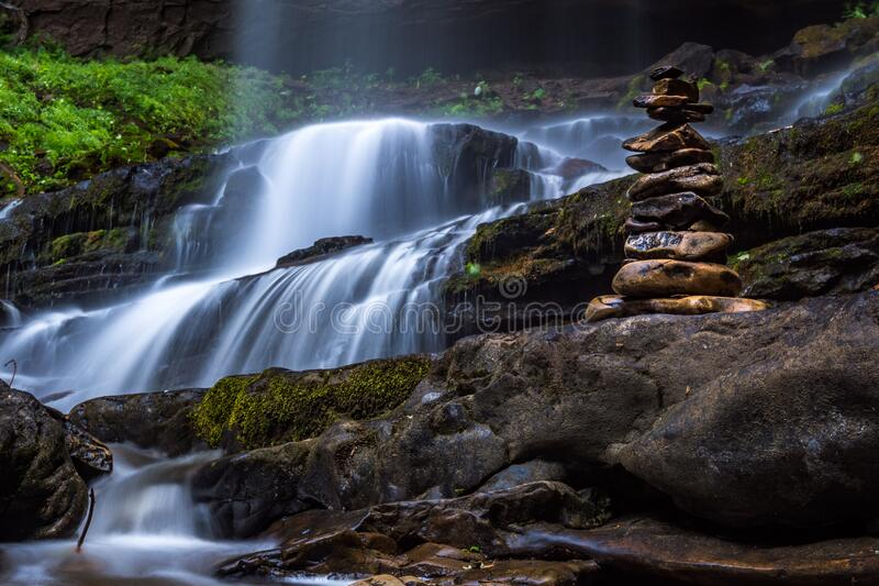 Waterfall with spray royalty free stock photography