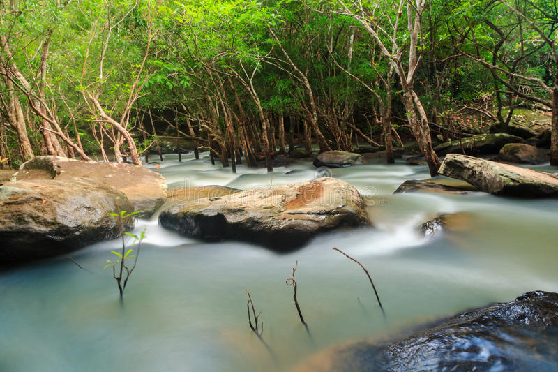 Waterfall and stream in the forest Thailand stock image
