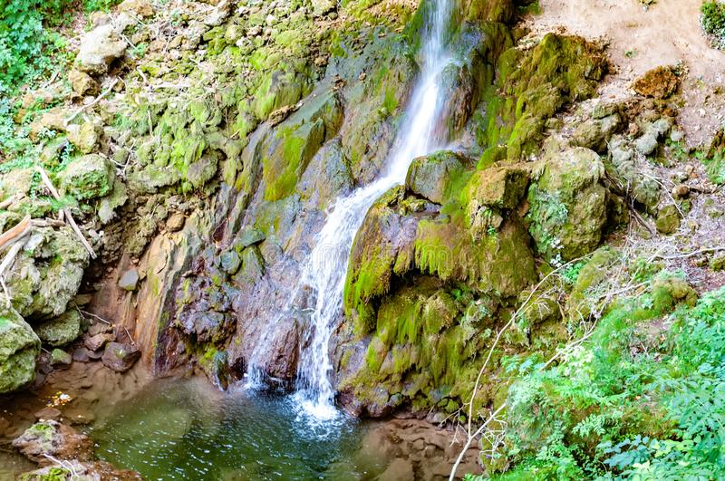 Waterfall on a sunny day in Lillafured, Hungary stock image