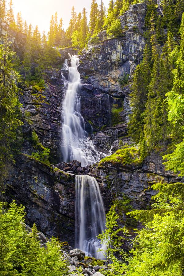 Waterfall in Sweden. In summer stock photography