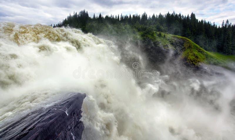 Waterfall in Sweden , Tännforsen stock images