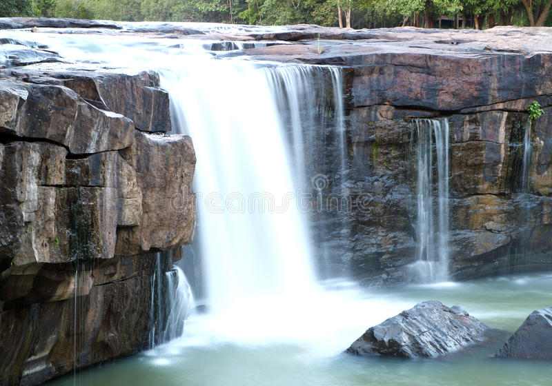 Waterfall Tadtone in climate forest of Thailand