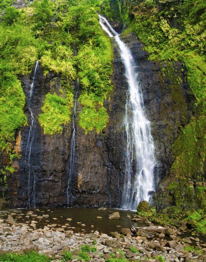 Waterfall on Tahiti. French Polynesia stock images