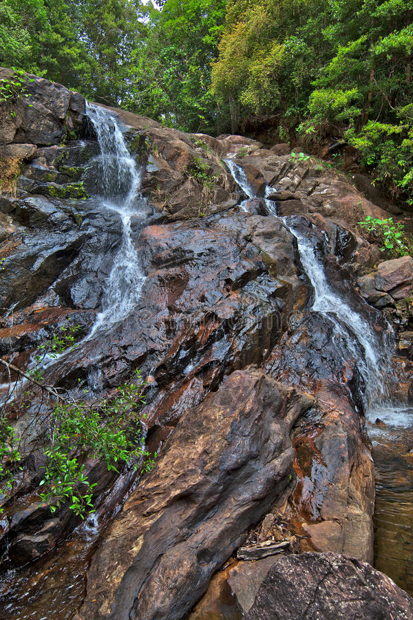 The waterfall of tears in the near of Elpitiya. On the tropical island Sri Lanka in the Indian Ocean royalty free stock image