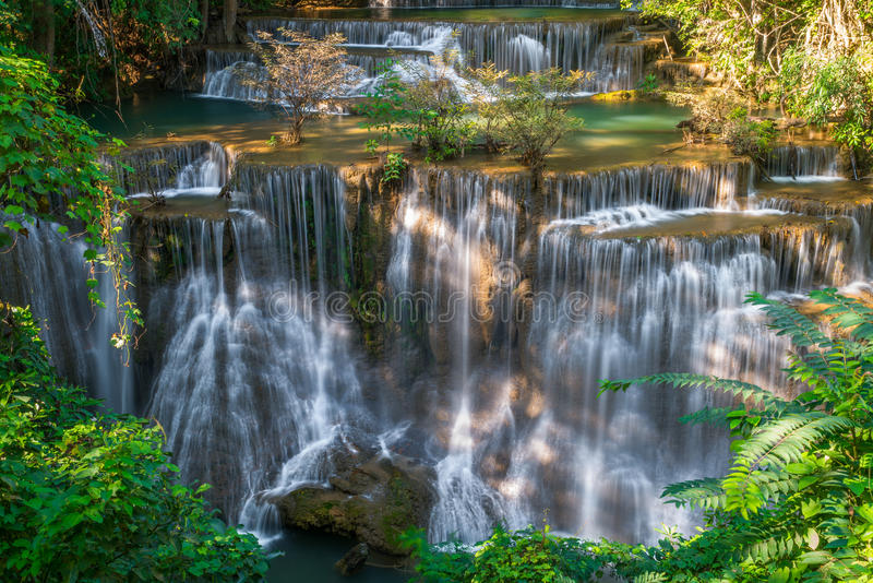 Waterfall in Thailand, called Huay or Huai mae khamin in Kanchanaburi Provience. Around with forest environment and emerald water royalty free stock photos