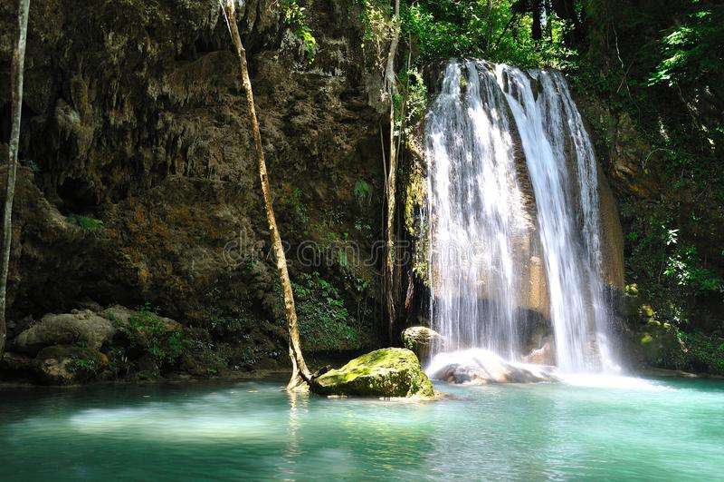Waterfall in Thailand - Erawan waterfall). Waterfall in Thailand (province Kanjanaburi - Erawan waterfall royalty free stock photos