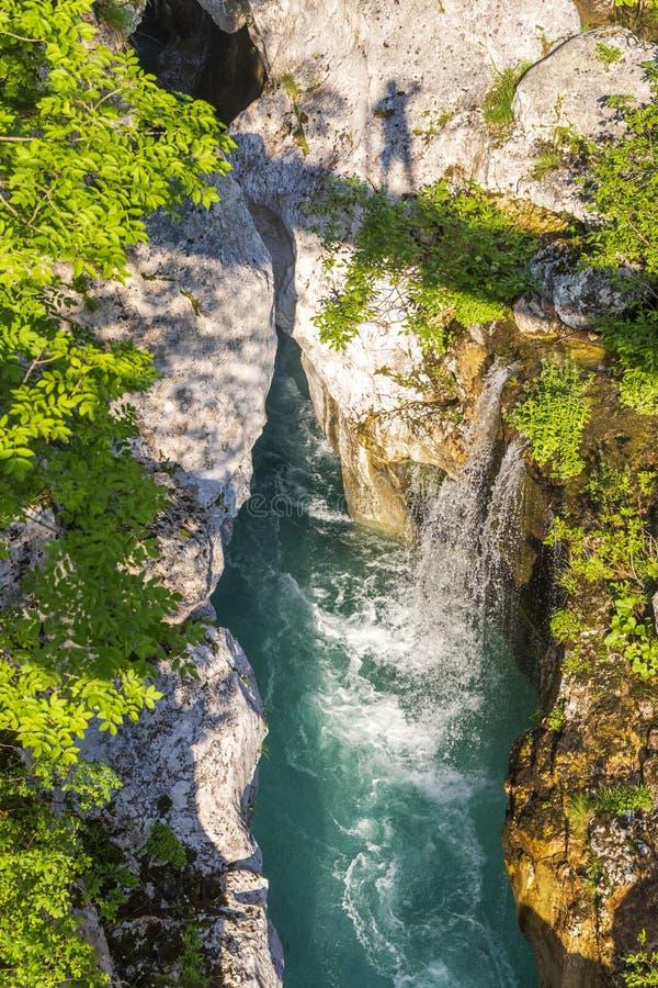 Waterfall to rriver Soca, Velika korita Soce, Triglavski national park, Slovenia stock photos