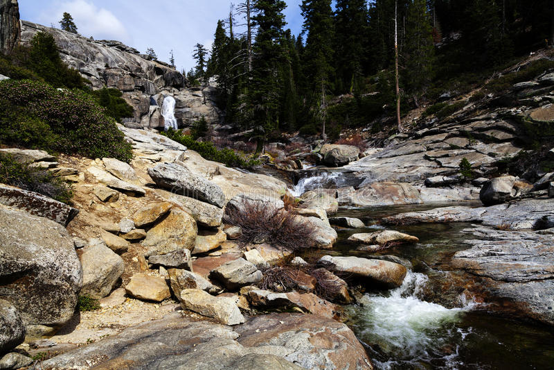 Waterfall At Top Of Chilnualna Falls Yosemite royalty free stock photos