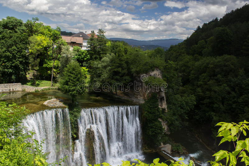 Waterfall in town royalty free stock photo