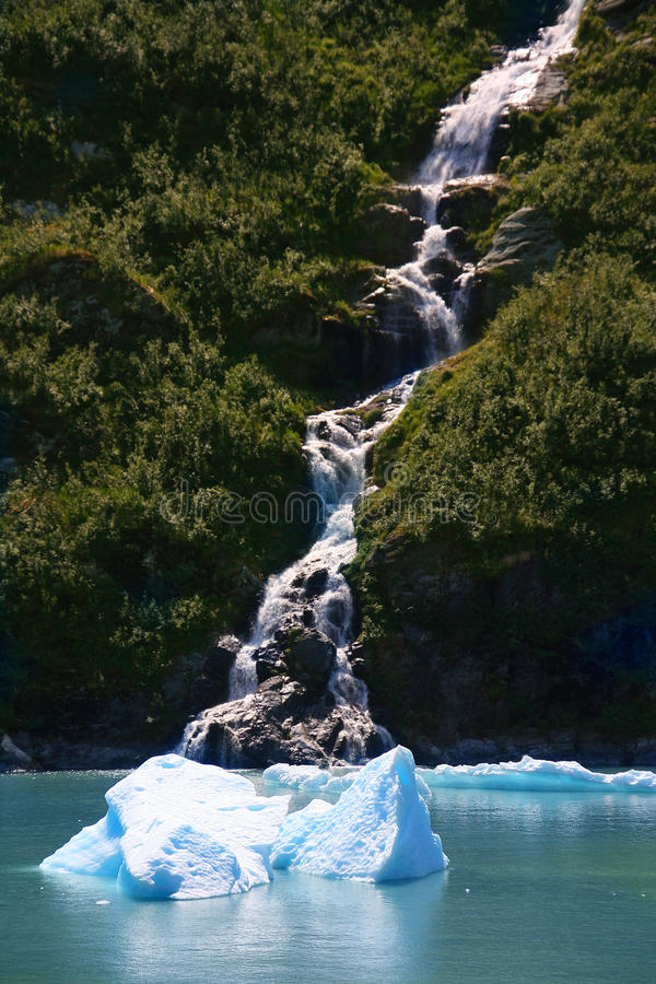 Waterfall in the Tracy Arm fjord royalty free stock photos
