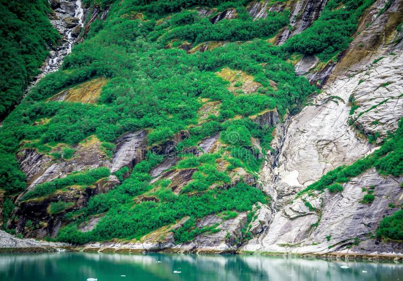 Waterfall in Tracy Arm Fjord, Alaska royalty free stock photos