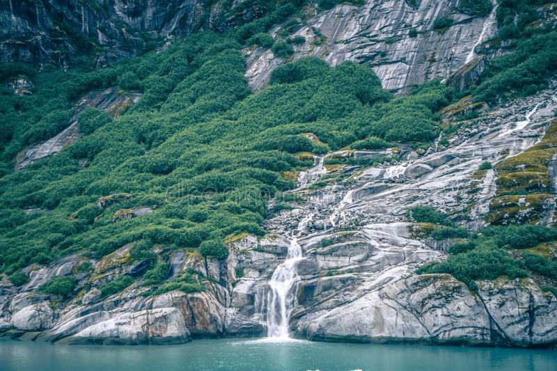 Waterfall in Tracy Arm Fjord, Alaska stock image