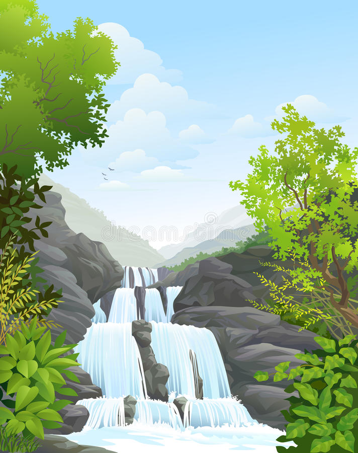 Download Waterfall In Tropical Forest Stock Illustration - Image: 34097745
