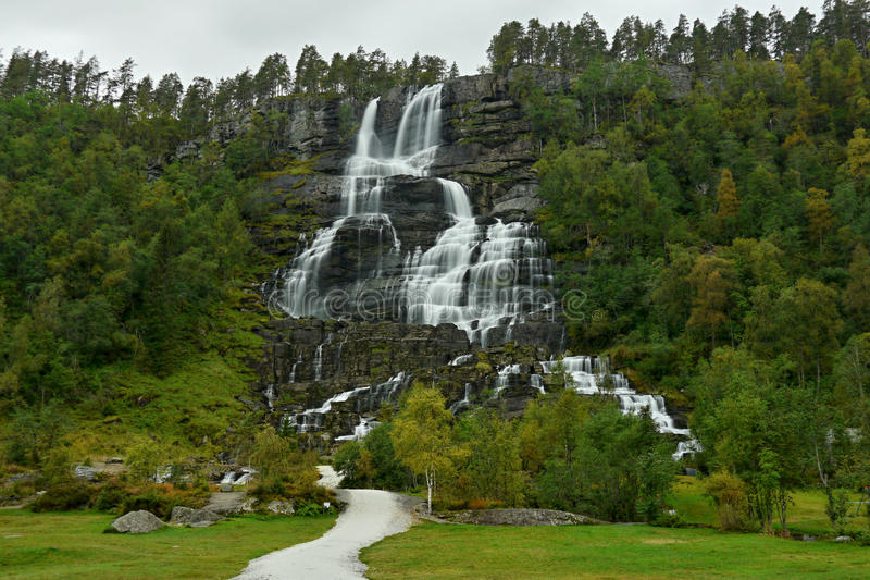 Waterfall Tvindefossen royalty free stock images