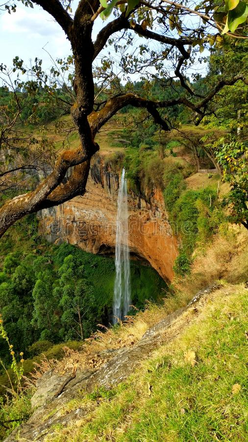 A waterfall in Uganda. One of all the small waterfalls that finally form the mighty river Nile in Uganda, Africa stock image